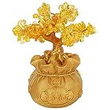 HERCHR Árbol de Dinero de Oro, árbol de Feng Shui, árbol de Dinero de Citrino, Resina, árbol de la Suerte, Estatua de bonsái, decoración del hogar de Oficina para la Riqueza, Buena Suerte