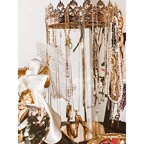 ADOUS HOUSE Hanging Jewelry Organizer,Crown Necklace Holder,Table Top Jewelry Stand Display
