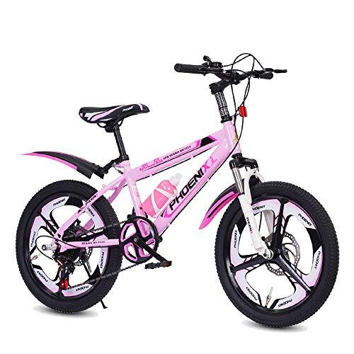 Axdwfd Infantiles Bicicletas 18 O 20 Pulgadas De Bicicletas De Montaña, 21 Velocidad Engranajes, Tenedor De Suspensión, Y De Niños For Bicicletas Niños Y Niñas (Color : Pink, Size : 20in)