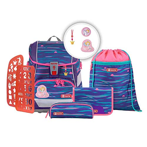 Step b Step 2in1 Plus Schulranzen Set Shiny Dolphins 6tlg mit wählbaren Magic Mags (Prinzessin Lillifee, Rosarien)