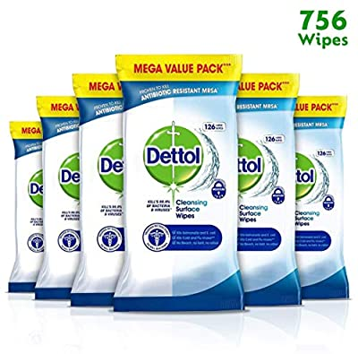 Dettol Wipes Antibacterial Bulk Surface Cleaning, Multipack of 6 x 126, Total 756 Wipes by Reckitt Benckiser