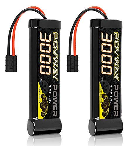 POVWAY 8.4V 3000mAh RC NiMH Battery with Traxzas Plug for RC Car Traxxas LOSI Associated HPI Kyosho Tamiya Hobby - 2 Pack (3000mAH 7-Cell x 2)