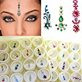Bindi Box Long Multicolored Crystal Bindis Bridal face Jewels Forehead Tika (Pack of 12 Bindis - With Extra Stones)