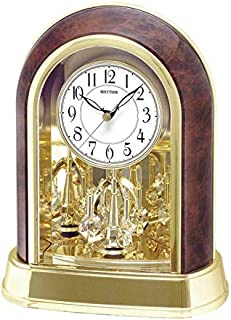Rhythm 4SG696WT23 Crystal Mantel Rotating Pendulum Desk Clock