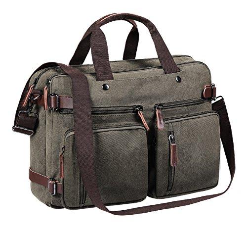 TECOOL Umhängetasche Herren 15.6 Zoll, Laptop Tasche Leinwand Messenger Rucksack Umwandelbar Multifunktionale Handtasche Reise Backpack Aktentasche für 15,6 Zoll Laptop(Grau)