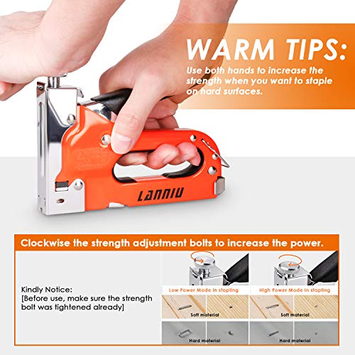 LANNIU Staple Gun, Heavy Duty Staple Gun with Remover, 4 in 1 Staple Gun with 4000 Staples for Upholstery, DIY, Fixing Material, Decoration, Carpentry, Furniture Photo #6
