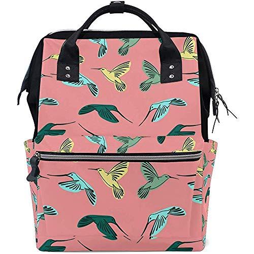 College Bag Kolibri Muster Windel Reißverschluss Baby Taschen Rucksack Große Kapazität Multifunktion Casual Mama Reiserucksäcke Papa Unisex 28X18X40Cm