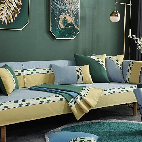 YUTJK Funda de sofá pequeña Fresh Art, Dos Plazas Antideslizante Funda para Sofá, Universal Acolchado Funda, Cubre Sofá para Chaise Long Rinconera, para sofá de Tela, Gris
