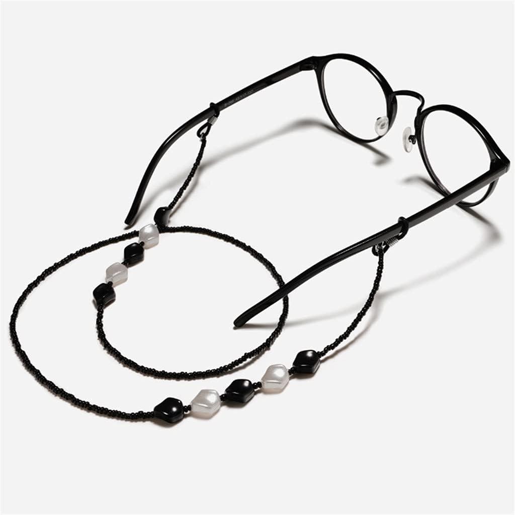 EEKLSJ Bohemia Black White Geometric Bead Chain Cords Reading Glasses Chain Women Sunglasses Accessories Lanyard Hold Straps (Color : A, Size : Length-70CM)
