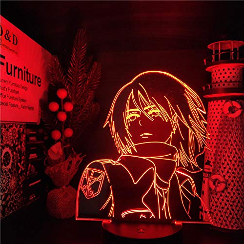 Prime Day Ofertas 2021 Ataque a Titan Mikasa·Ackerman 3D LED Animación luz nocturna Ataque a Titán llevó la luz de la noche regalo Navidad lámpara de mesa ERJIE