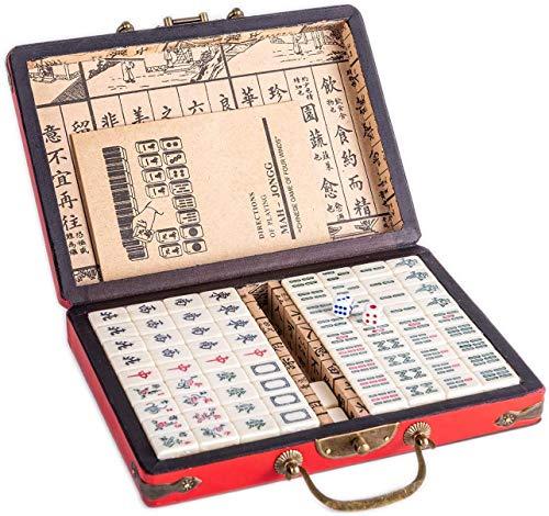 LLKK Juego de Mahjong Chino Tamaño Completo 144 artículos,Fácil de Llevar,práctico y fácil de Leer