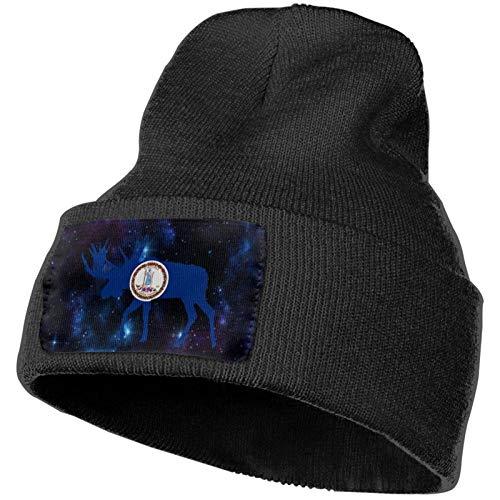 AEMAPE Sombrero de Punto Unisex Gorro de Calavera de Moda Sombreros de Punto - Bandera de Virginia Moose