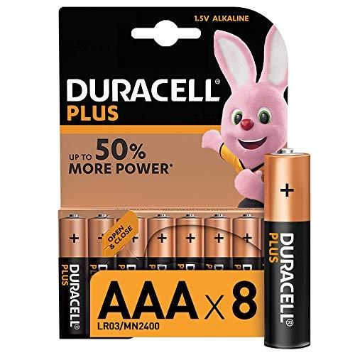 Duracell Plus AAa, Batterie Ministilo Alcaline, 1.5 V LR03 MN2400, Confezione da 8 Pacco del Produttore