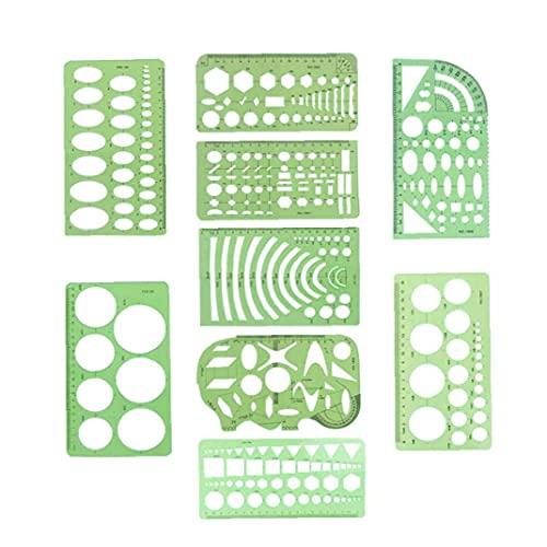 Dibujos geométricos modelos verdes claras reglas Las reglas geométricas de medición plantillas 9 PCS Artes Manualidades