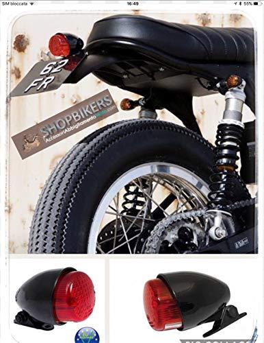 Faro Fanale Luce posteriore Texas Nero per moto universale Harley Custom Bobber Cafe Racer Scrambler Rat Bikers Omologato ECE Approved 21/5W BULB