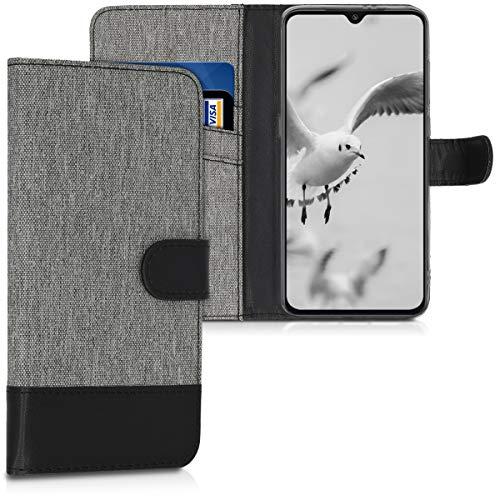 kwmobile Funda Compatible con Xiaomi Mi 9 - Carcasa de Tela y Cuero sintético Tarjetero Gris/Negro