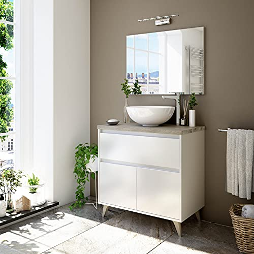 Dmora Mobile Bagno a Due Ante e Un cassetto per lavabo da appoggio, Colore Bianco, cm 81 x 80 x 46 cm, 81x80x46