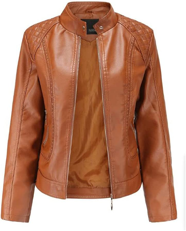 HBIN Spring and Autumn Women's Leather Jackets European and American Large Size Stand-up Collar PU Jacket Women's Leather Jackets (Color : Brown, Size : 3XL Code)