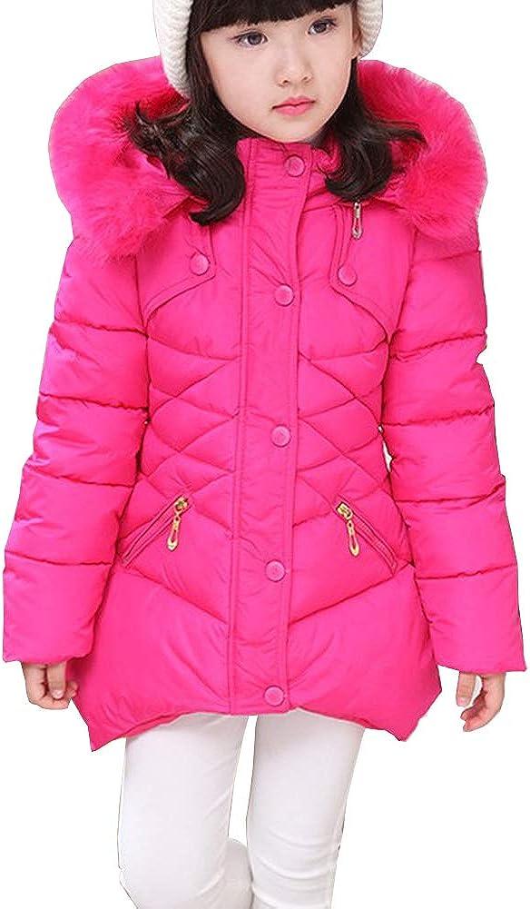 Girls winter coat Jacket,Toddler Kids Cotton Jackets Snowsuit Hooded Windbreaker with Soft Fur Hoodies for Girls