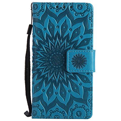 LAFCH Handyhülle für Xperia Z5 Compact Hülle, Premium Mandala Geprägtes Muster PU Leder Flip Schutzhülle für Sony Xperia Z5 Compact, mit Karteneinschub, Blau