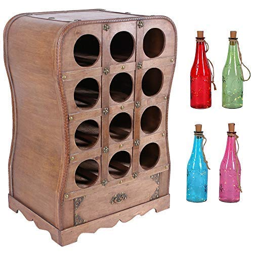 Botellero para 12 Wein-Flaschen Weinflaschen-Ständer Altura 65cm Soporte Botellas Contrachapado Diseño Vino de Madera con Cadena Luces Led Colorido 25cm Alto