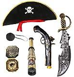Seawhisper Piratenkostüm Kinder Kostüm Pirat Jungen Piratenhut Fernrohr Augenklappe Piratensäbel...