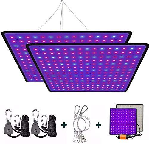 GREENSINDOOR 300W LED Pflanzenlampe, LED Pflanzenlampe Vollspektrum LED Pflanzenlicht für Zimmerpflanzen Gemüse und Blumen (2PCS)