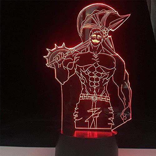 Lámpara de escritorio con ilusión 3D, lámpara de escritorio Escanor, anime, siete pecados mortales, colores de cumpleaños, lámpara de regalo de Annie Night Lights (Color emisor: sin controlador)