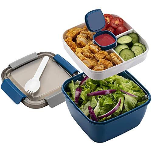 Bento Box Kinder Lunchbox mit Fächern und Besteck Erwachsene Brotdose BPA-Freie 1500ML Brotzeitbox für Schule/Arbeit/Picknick Reisen Geeignet für Mikrowellen und Spülmaschinen (Blau)