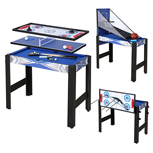 HLC 3ft 5 in 1 Multi Combo Game Table, Folding Multi Game Combination Table Set with Soccer Foosball Table, Pool Table, Hockey Table, Table Tennis Table, Basketball