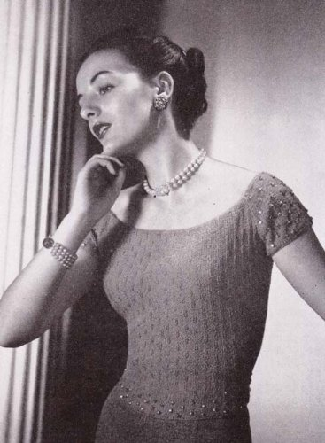Off The Shoulder Evening Blouse Top Sweater Vintage Knit Knitting Pattern sizes 12 through 20 EBook Download (English Edition)