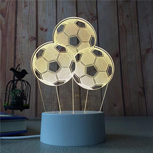 Decoración del hogar Dormitorio Noche Luz Chica Corazón Creativo 3D Lámpara de Mesa Niños nórdicos Dibujos Animados Luz Fútbol 3