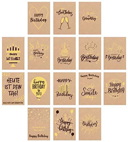 Edition Seidel Set 16 exklusive Premium Geburtstagskarten mit Briefumschlag gedruckt auf Kraftpapier. Glückwunschkarte Grusskarte Geburtstag Geburtstagskarte Mann Frau Karten Happy Birthday Billet