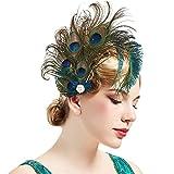 Coucoland Pinza para el pelo vintage de los años 20 con cristales de los años 20 y plumas de pavo real, accesorio para disfraz de Gatsby