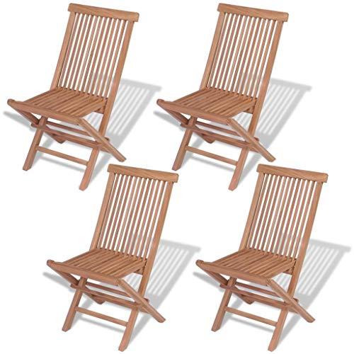 Wooden Folding Chair, Folding Garden Chairs, 4 pcs Solid Teak Wood