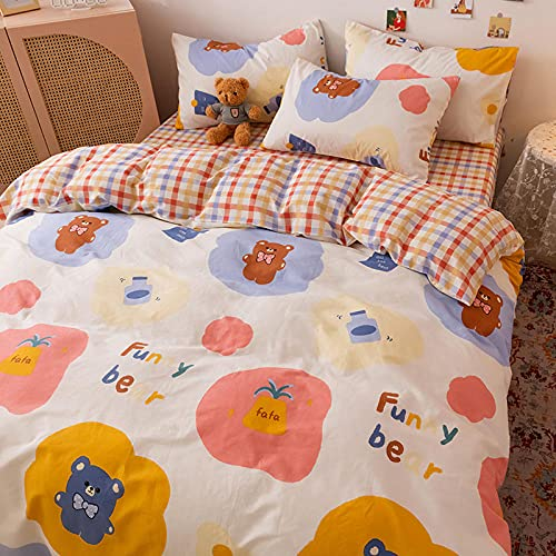 YFGY Set Copripiumino Singolo Cotone Cartone Animato Copripiumino, federe per Lenzuola Stampate per Ragazza Ragazzi Bambini Orso 160 * 210cm (3 Pezzi)