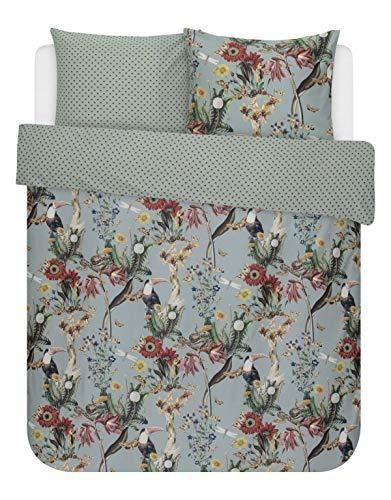 ESSENZA reversible duvet cover set Airen satin reed green size 80x80 cm / 155x220 cm