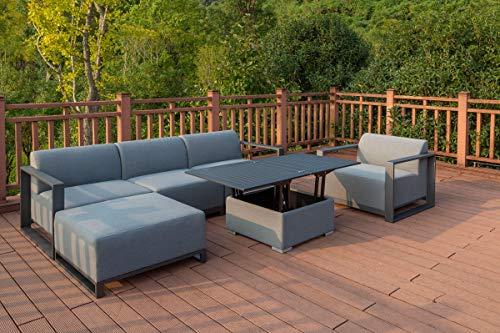 OUTFLEXX Loungeset, flanelle, Alu/Sunbrella, für 5 Personen, höhenverstellbarer Loungetisch
