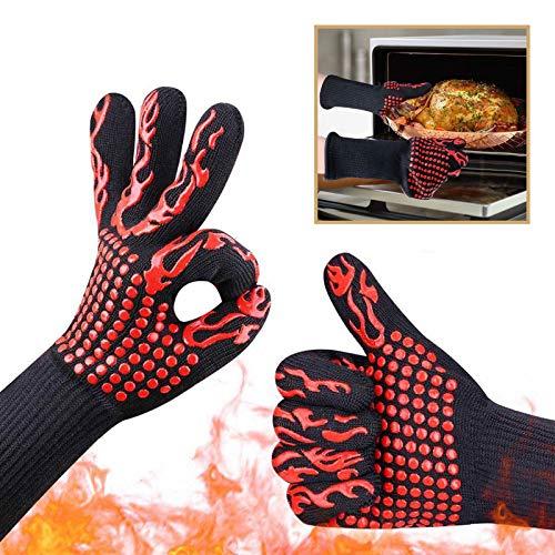 AICHUANGBAO 1 Par Rojo Guantes de Cocina, Resistencia al Calor hasta 800°C Manoplas Horno,Ser aplicable Guantes para Horno,Cocina,Picnic al Aire Libre