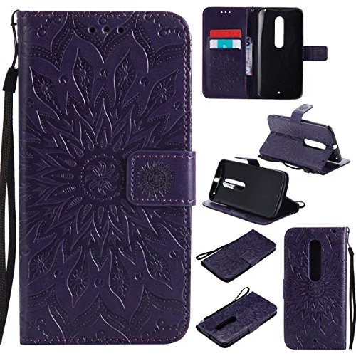 A-slim Moto X Pure Edition Wallet Case, (TM) Sun Pattern Embossed PU Leather Magnetic Flip Cover Card Holders & Hand Strap Wallet Purse Case for Motorola Moto X Pure Edition/Moto X Style - Purple