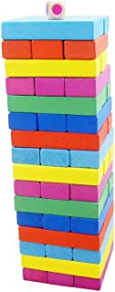 Ferryman 48 Piezas de Madera Colorida Tumble Tower Juego de Bloques de construcción de apilamiento Juguete Juego de Mesa para niños y Adultos