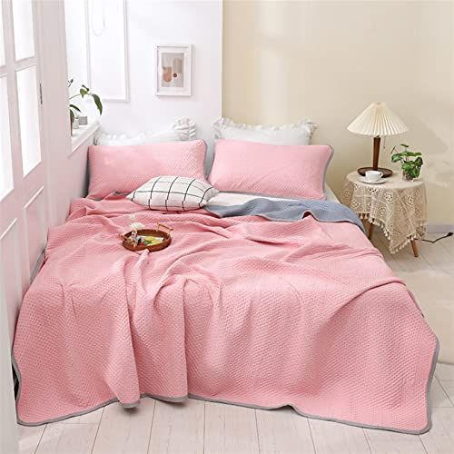 YYGQING Edredón de verano para aire acondicionado, lujoso, para siesta, habitación con aire acondicionado, cama doble, tamaño king, colcha de verano (color: rosa, tamaño: 200 x 230 cm)