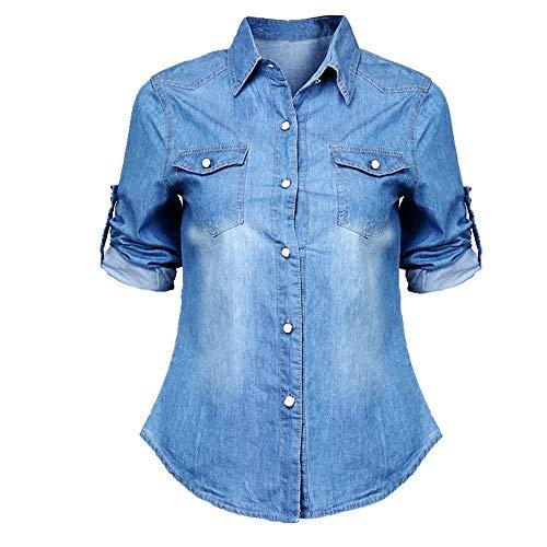 N\P Mujer Niñas Denim Camisa de manga larga Verano
