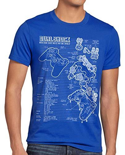 style3 PS1 Gamer T-Shirt Homme PS Console de Jeux Manette, Taille:XL, Couleur:Bleu