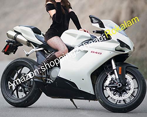 Kit de carénage de moto pour 848 1098 2007–2011 1098S 1198 07–11 Carénages noirs blancs (moulage par injection).