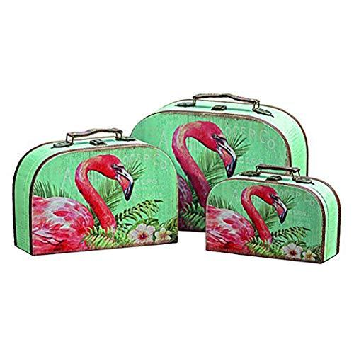 Unbekannt Set di 3 valigie per conservare Oggetti - Decorazione, Arredamento - Motivo: Fenicottero Rosa