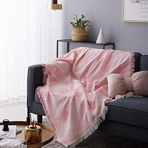 Versátil Manta de Tiro de Verano de Punto a Cuadros, Manta con borlas de Japón para sofá Cama, Colcha de avión, Funda de sofá de Viaje, decoración del hogar, sofá Color: Rosa, tamaño: 90x180cm
