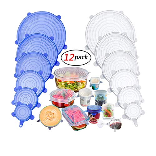 Silicone Stretch Lids, Insta Lids, Instalids, Reusable Silicone Lids With Hanging Holes Fit Round & Square Bowls, Jars, 12-Pack of Various Sizes Silicone Bowl Covers Keeping Food Fresh Freezer Safe