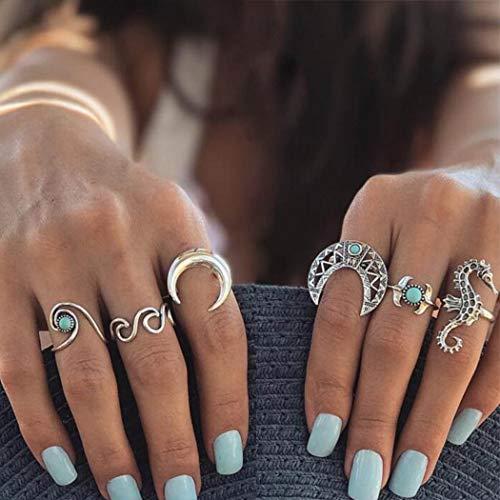 IYOU Boho Juego de anillos para nudillos Luna Turquesa Anillo apilable Anillos...