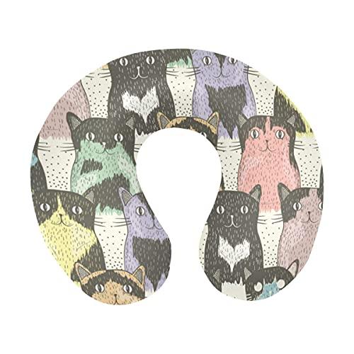 Hipster Cute Cats with Sunglassess Almohada de Viaje cómoda en Forma de U Almohada de Espuma viscoelástica para el Cuello para avión, Coche, Oficina, Dormir